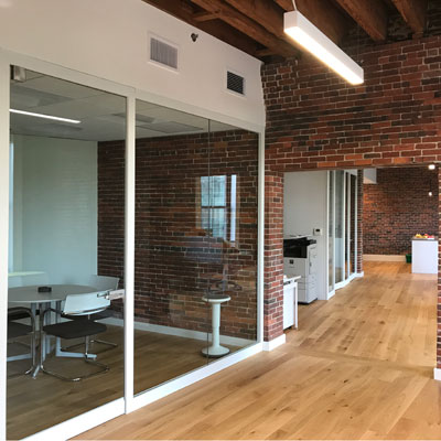 glass and brick conference room